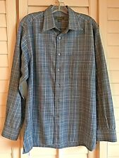 ERMENEGILDO ZEGNA Blue/Black/beige Check Plaid Shirt sz XL
