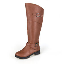 UK Womens Leather Knee High Boots Buckle Zipper Winter Warm Ladies Shoes Size