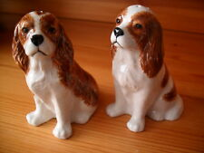 DELIGHTFUL CAVALIER KING CHARLES SPANIEL SALT AND PEPPER POTS  BY QUAIL POTTERY