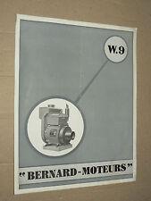 Prospectus Moteur BERNARD W9 1950  Motor Tracteur traktor brochure