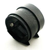 Black Leather Cuff Wristband Bracelet Double buckle-adjustable Handmade