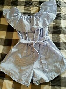 Blue & White Striped Shorts Romper ~ Women's Size Large L ~ Off Shoulder Ruffle