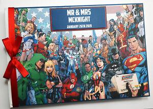 Personalised DC comics wedding guest book, superhero wedding, birthday, gift