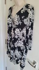 BNWT Evans Ladies V Neck Black & White Floral Print Dress (UK 18) RRP £35
