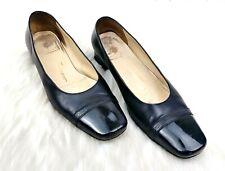 Salvatore Ferragamo Women's Black Leather Cap Toe Logo Classic Pumps Size 7.5