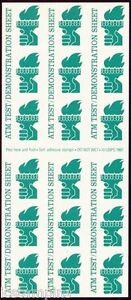 Scott# TDB82 AVERY Self-adhesive  ATM Test/Demo Stamp Pane of 18