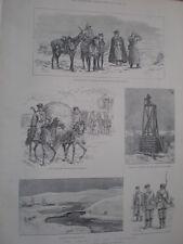 Rusia Ejército Infantería cosacos en el Vistula 1888 Impresiones Antiguas