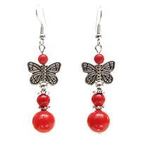Boucles d'oreilles pendantes papillon argenté perles en pierre ROUGE