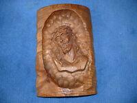 Wandrelief Relief Figur massiv Holz handgeschnitzt Jesuskopf Christuskopf Jesus
