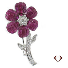 4.35CTW Rose Shaped Diamond and Ruby Pin F SI 18K