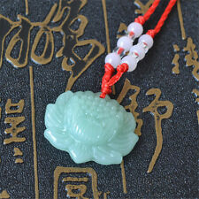 2pcs Jade Carved Lotus Flower Pendant Necklace Beads Rope Chain Lucky Green