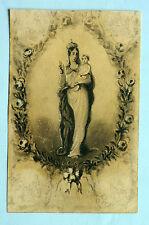 Dessin original projet pour image religieuse 19ème Vierge à l'enfant