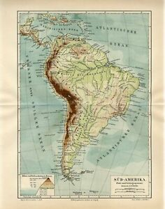 1888 SOUTH AMERICA RIVERS and MOUNTAINS Antique Map