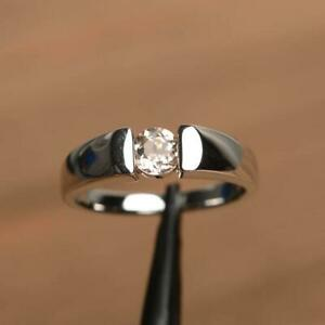 925 Solid Sterling Silver - Natural Morganite Ring - Solitaire Engagement Ring