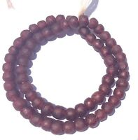 Ghana African handmade Trans Garnet red with vein  recycled glass trade beads