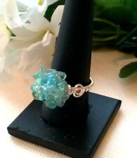 HANDMADE GENUINE GEMSTONE SKY BLUE APATITE WIREWRAPPED RING SIZE 'S'