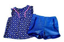 New Lot of 2 Carter's Shorts Blouse T-shirt Tee Baby Girls Clothes Newborn Nb