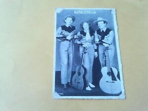 RARE 1940s RPPC TONY, JUANITA, BUDDY COWBOY BAND W.B.Z. RADIO GENE AUTRY COSTUME
