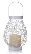 Wild Wire Teardrop Lantern with LED Candle and LED String Lights, White