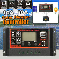 12/24V 10A~60A LCD Solar Panel Charger Controller Battery Regulator Dual USB