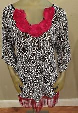 NWT Demi Loon Black/White Hot Pink Fringed Tunic Top Womens L / XL
