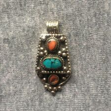 PD-302 Antique Style Nepalese Tibetan White Metal Turquoise Coral Drop Pendant