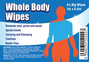 WHOLE BODY WIPES | CAMPING | FESTIVALS | BEACH | TOUGH MUDDER | FREE P&P | 4pk