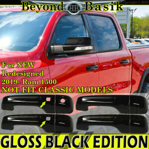 For 2019 2020 2021 Dodge Ram 1500 4dr GLOSS BLACK Door Handle COVERS 1KH,W/2 SMK