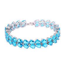 "Aquamarine Silver Fashion Women Jewelry Gemstone Chain Bracelet 7 5/8"" NS1488"