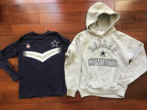 2 Pc LOT NFL Dallas Cowboys Youth Gray Hoodie Sweatshirt/ Shirt Size Small 8 Euc