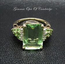 9ct Gold Prasiolite Green Amethyst and Diamond Ring Size N 1/2 4.05g