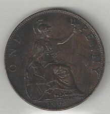 GREAT BRITAIN, 1902 H.W.L., PENNY, BRONZE,  KM#794.2, CHOICE ALMOST UNCIRCULATED