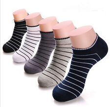 5 Pairs Mens Cotton Socks Lot Crew Ankle Low Cut Striola Casual Dress Socks Sox