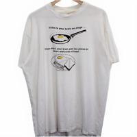 I94 Vintage Stedman Funny Fried Egg Tee Shirt Men's Made in USA XL (46-48)