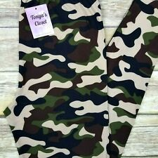 PLUS Camouflage Leggings Camo Army Military Green Olive Butter Soft 10-18 TC