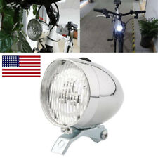 Vintage Bike 3 LED Bicycle Headlight Front Light Classic Fog Head Lamp Chrome