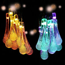 Solar Powered String Fairy Outdoor Outside Christmas Decorative Drop LED Lights