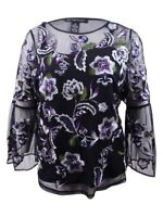 INC International Concepts Women's Plus Size Floral-Embroidered Mesh Top