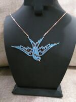 TURKISH HANDMADE JEWELRY 925 STERLING SILVER LADY TURQUOISE BIRD NECKLACE