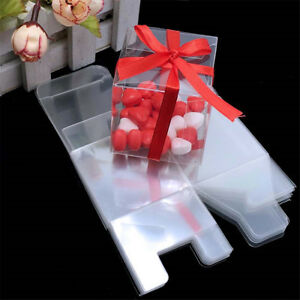 20/50pcs Clear Macaron Square Boxes Bomboniere Wedding Favour Baby Shower 5CM