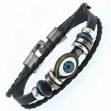 Bracelet en cuir tressé et acier fermoir métal homme ou femme Mauvais oeil