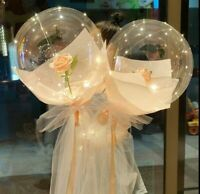 LED Light Balloon Champagne Rose Flower Bouquet Birthday Anniversary Mother Day