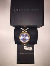 WOMEN'S MARC JACOBS HENRY CHRONO ROSE GOLD TONE BLUE DIAL CRYSTAL WATCH MBM3299
