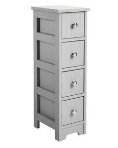 Bathroom Furniture Grey Slimline 4 Drawer Unit Cabinet Storage Space-Saving Home