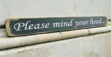Anatra in Legno Placca Shabby Chic segno di grandi dimensioni mediante AUSTIN Sloan ~ si prega di mente la testa