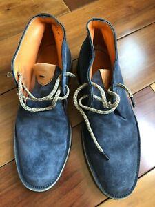 Santoni Blue Suede Chukka Boots Shoes Size 7 Euro 41