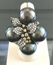 Four 15 mm Tahitian South Sea Pearl & Diamond Statement Ring