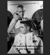 Elvis Presley US Army PHOTO Haircut, Barber Shop, Soldier Rock 'n Roll Legend