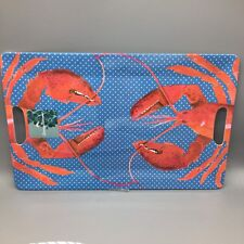 Tommy Bahama Lobster MELAMINE Serving Tray Platter Nautical Red Blue 12x18 NEW