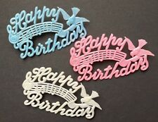 """3 Vintage """"Musical"""" Bird HAPPY BIRTHDAY Cake Toppers"""
